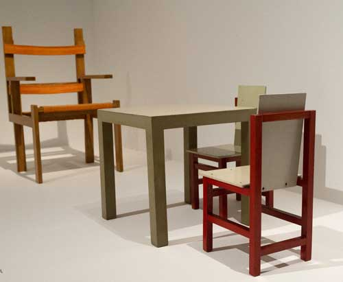 Marcel Breuer. Children's table and chairs, 1923 (foreground). Klassik Stiftung Weimar, Bauhaus Museum. Photograph: Jane Hobson 2012. Courtesy of Barbican Art Gallery.