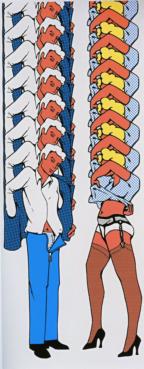 Thomas Bayrle. One or the other, 1970. Serigraphy on paper, 50 x 125 cm (each sheet), Galerie Johann Widauer, Innsbruck.