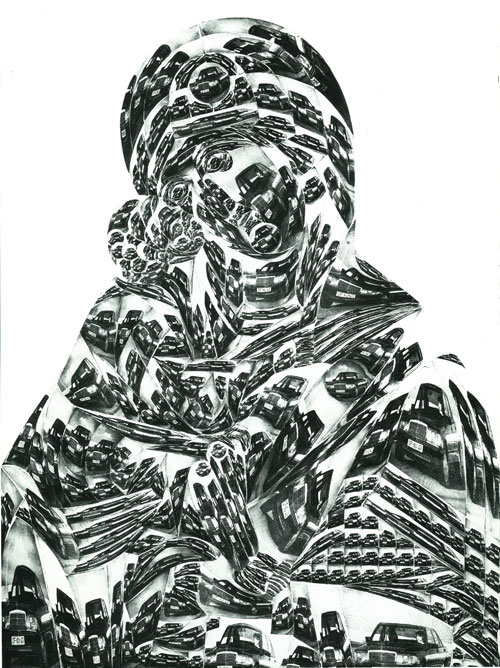Thomas Bayrle. Madonna Mercedes, 1989. Silkscreen print on canvas. Courtesy of the artist.