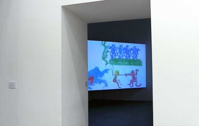 Oliver Beer. Reanimation (I Wan'na Be Like You), 2017. Installation view. Film made from drawings by 2,500 children. Produced by Ikon Gallery, Birmingham. Digitised animation. Photograph: Martin Kennedy.