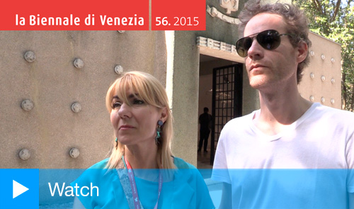 Curator Katerina Gregos and artist Vincent Meessen, Belgian Pavilion, Venice, May 2015.