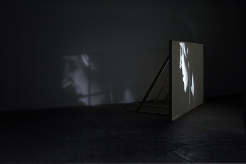 Imogen Stidworthy. Sacha, 2011-12. 2 x video projections on specially constructed floor-based screens, one containing loudspeakers. Courtesy the artist, Matt's Gallery, London and AKINCI, Amsterdam.