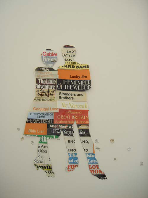 Ellen Bell. <em>Camera Obscura & Other Stories</em>, 2011. Text and 20th century book covers from various publishers including Penguin & Pan books & acid-free glue, 74 x 57 x 7 cm.