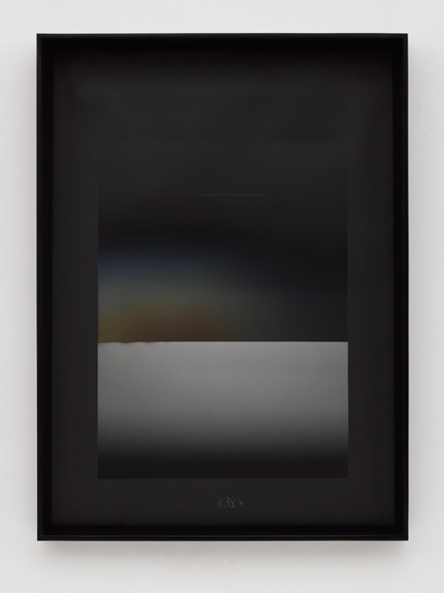 Larry Bell. NVD#23, 2004. Black Arches Paper coated with aluminium and silicon monoxide, 57 x 41 in (144.8 x 104.1 cm) (unframed), © Larry Bell. Photograph © White Cube (George Darrell).