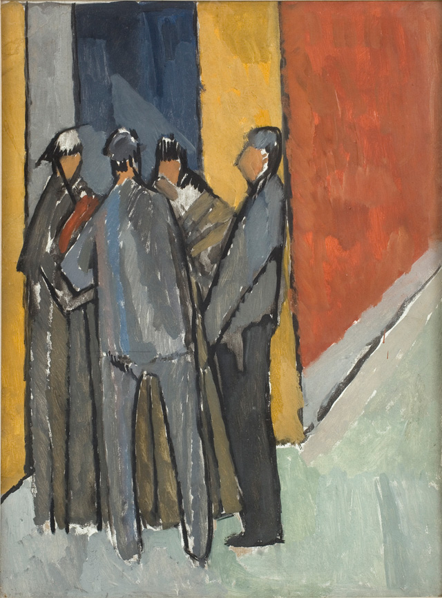 Vanessa Bell. Street Corner Conversation, c1913. Oil on board, 69 x 52 cm. Private Collection. © The Estate of Vanessa Bell, courtesy of Henrietta Garnett.