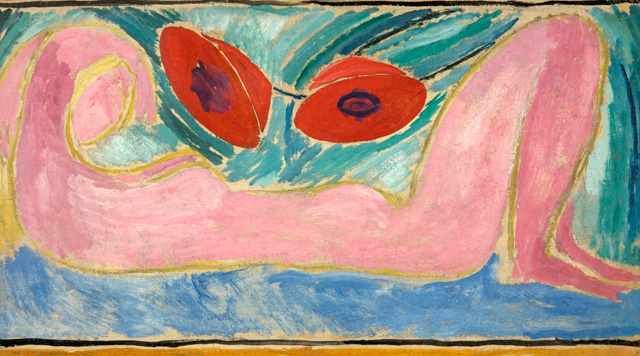 Vanessa Bell. Nude with Poppies, 1916. Oil on canvas, board, 23.4 x 42.24 cm. Swindon Museum and Art Gallery. © The Estate of Vanessa Bell, courtesy of Henrietta Garnett.