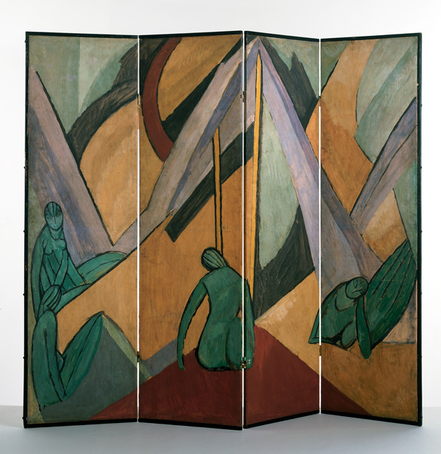 Vanessa Bell. Tents and Figures, 1913. Folding screen, distemper on paper mounted on canvas, painted softwood frame, 200 x 67 x 58 cm. Victoria & Albert Museum. © The Estate of Vanessa Bell, courtesy of Henrietta Garnett.