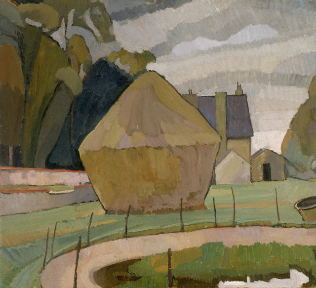 Vanessa Bell. Landscape with Haystack, Asheham, 1912. Oil on canvas, board, 60.32 x 65.72 cm. Smith College Museum of Art, Northampton, Massachusetts. © The Estate of Vanessa Bell, courtesy of Henrietta Garnett.