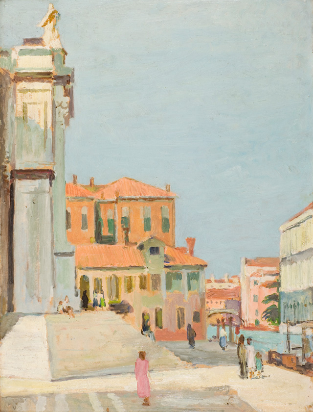 Vanessa Bell. On the Steps of Santa Maria Salute, Venice, 1948. Oil on canvas, 49 x 36.5 cm. Private collection, UK. © The Estate of Vanessa Bell, courtesy of Henrietta Garnett.