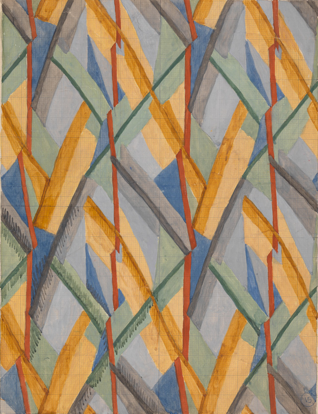 Vanessa Bell. Design for Omega Workshops Fabric, 1913. Watercolour, gouache and graphite, sheet: 66.1 × 53.3 cm, image: 53.3 × 40.7 cm, image: 2.7 × 25.4 cm. Yale Center for British Art, Paul Mellon Fund. © The Estate of Vanessa Bell, courtesy of Henrietta Garnett.