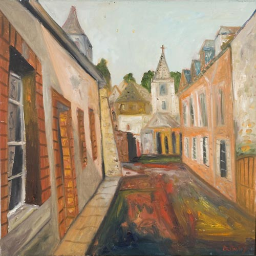 John Bellany. <em>L'Rue Jolie, Brittany</em>, Oil on Canvas, 36 x 36 inches