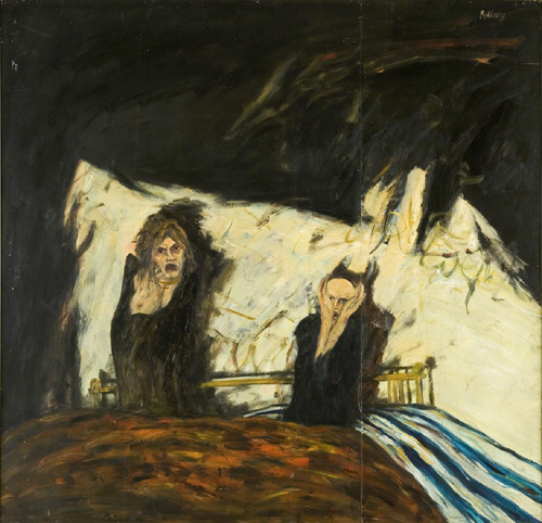John Bellany. <em>The Fright</em> 1968. 183 x 183 cm, oil on board. Artist's Collection.