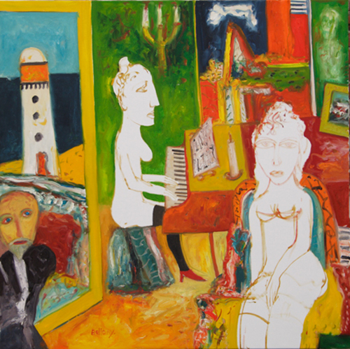 John Bellany. <em>A Scottish Concerto</em> 1998. 153 x 153 cm. oil on canvas. Artist's<br />