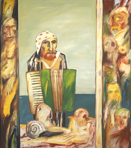 John Bellany. <em>Self Portrait with Accordion</em> 1974. 173 x 153 cm, oil on canvas. Artist's Collection.
