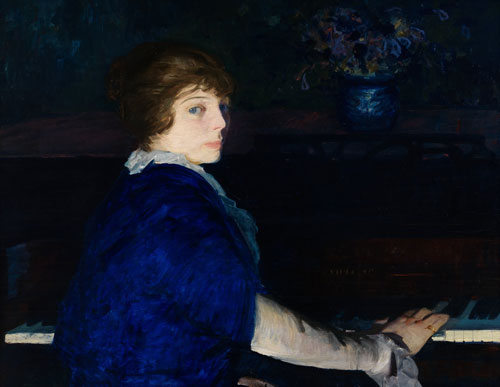 George Bellows. Emma at the Piano, 1914. Oil on panel, 73 x 94 cm. Chrysler Museum of Art, Norfolk, Gift of Walter P. Chrysler, Jr. 