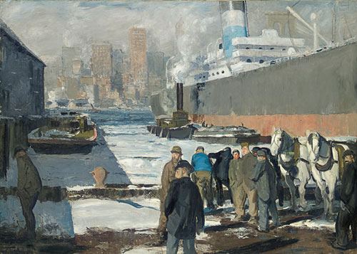 George Bellows. Men of the Docks, 1912. Oil on canvas, 114.3 x 161.3 cm. Randolph College, Founded as Randoph - Macon Woman's College in 1891, Lynchburg.