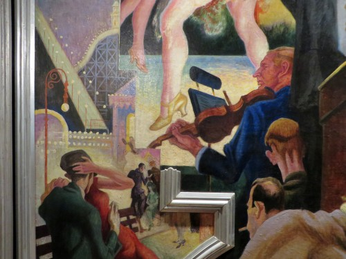 Angled aluminium-leaf moulding overlaying City Activities with Subway (detail), with Benton's painted rectilinear extensions further separating mural subjects.