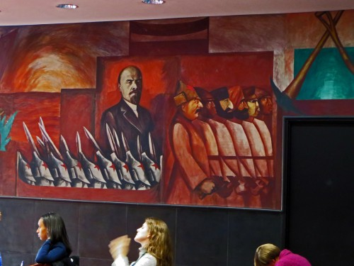 Struggle in the Occident: Carrillo Puerto and Lenin and the Bolshevik Revolution (detail), one of five frescoes by José Clemente Orozco commissioned by Alvin Johnson and installed in 1931 in the New School for Social Research (Room 712).