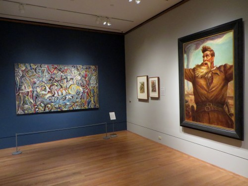 Jackson Pollock, Pasiphae, 1943, oil on canvas (left) and John Steuart Curry, John Brown, 1939, oil on canvas (right).