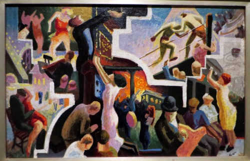 Study for City Activities with Subway, 1930, oil on masonite, 15 x 21 1/16 in.