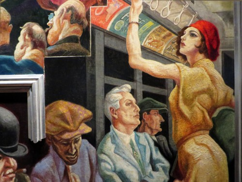 Female straphanger modelled by Elizabeth Pollock, City Activities with Subway (detail).