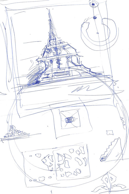 David Best. Sketch for a temple, drawn during the interview. @ Anna McNay.