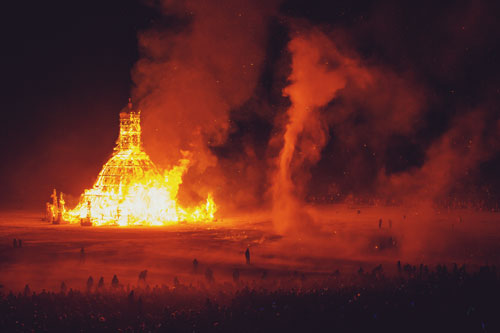 David Best. Temple of Grace, 2014. Burning Man, Black Rock Desert, Nevada, USA. On fire. Photograph: Zipporah Lomax.