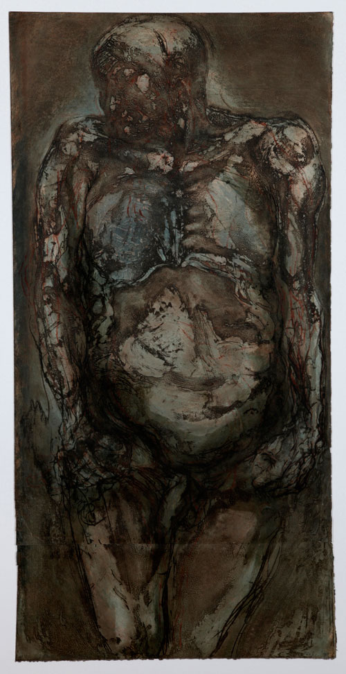 Beth Fisher RSA. <em>Dark Vigil</em>, Vigil Series I, 1999. Etching, collagraph, relief. Unique print, 121 cm X 61 cm.