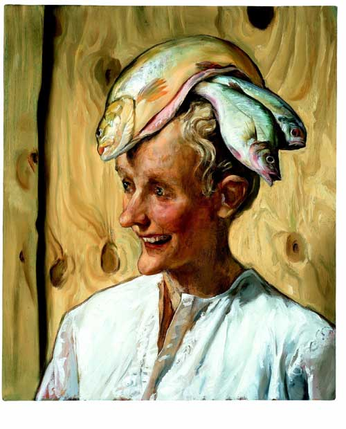 John Currin,<i> The Moroccan</i>, 2001. Oil on canvas 66,04 x 55,88 cm 