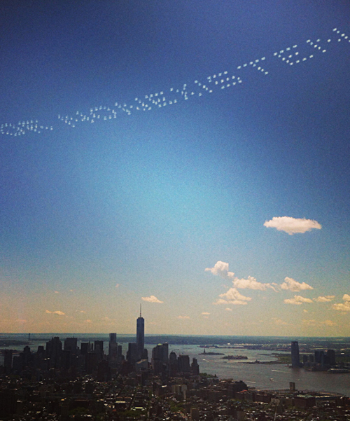 David Birkin. Severe Clear: Existence or Nonexistence, 2014. Skywriting over New York City, Memorial Day weekend, May 2014.