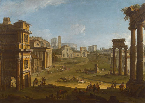 Antonio Joli (1700-1777). Campo Vaccino. Oil on canvas, 120 x 170 cm. Courtesy Rosenfeld Porcini.