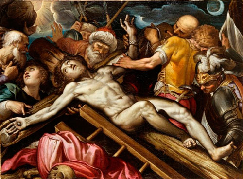 Ferrau Fenzoni (1562-1645). Christ nailed to the cross. Oil on canvas, 106 x 145 cm. Courtesy Rosenfeld Porcini.