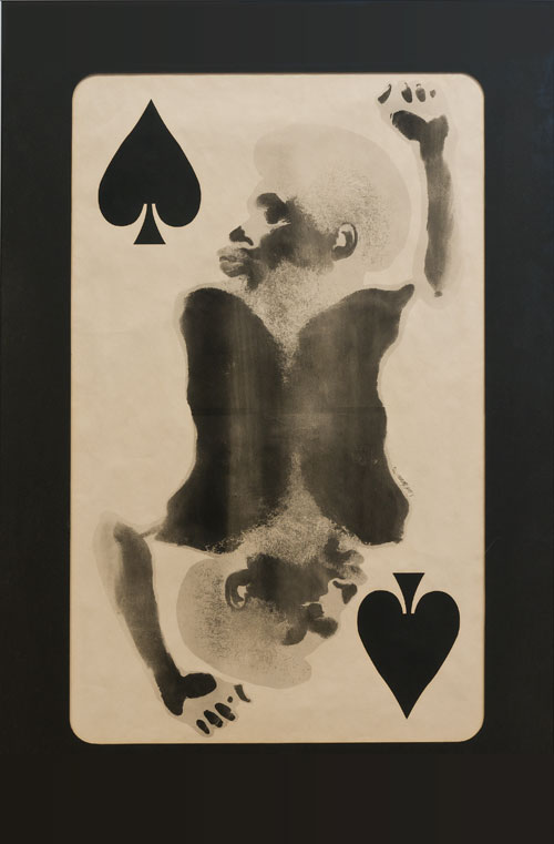 David Hammons. Spade (Power to the Spade), 1969. Body print, pigment, and mixed media on paper, 53 1/4 x 35 1/4 in.
