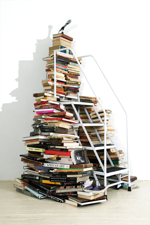Satch Hoyt. Say It Loud, 2004. Books, metal staircase, microphone, speakers, and sound, dimensions variable. Courtesy the artist