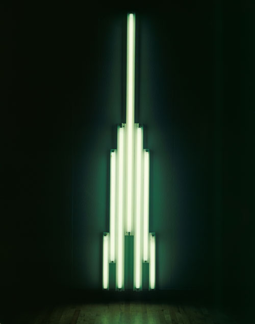 Dan Flavin. Monument for V. Tatlin, 1966-69. Fluorescent tubes and metal, 305.4 x 58.4 x 8.9 cm. Tate.