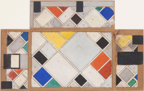 Theo van Doesburg. Colour design for ceiling and three walls, small bathroom, conversion of Café Aubetter interior Strasbourg, 1926-27. Gouache on paperboard, 43.7 x 74.5 cm. Courtesy Galerie Gmurzynska AG.