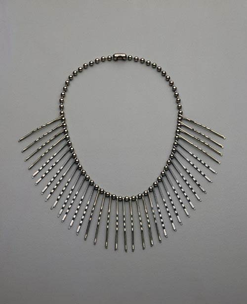 Annie Albers and Alex Reed.<em> Neckpiece</em> c 1940. Bobby pins and chain. Collection Mrs Barbara Dreier, courtesy the Josef and Annie Albers Foundation. Photo: Tim Nighswander.