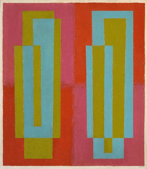 Josef Albers. <em>Oscillating (C)</em> 1940-45. Oil on masonite. Collection the Josef and Annie Albers Foundation.