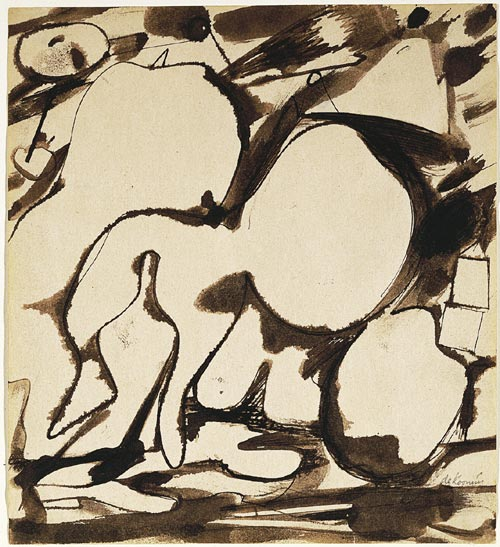 Willem de Kooning. <em>Untitled </em>1948. Pen and ink and ink wash on paper 23.75 x 22 cm. Hirshorn Museum and Sculpture Garden, Smithsonian Institute, Gift of Joseph H Hirshorn, 1966.