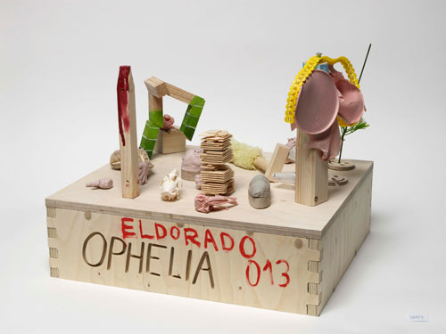 Ophelia Finke. Konquiz, 2013. Wood, paint, varnish, silicon, plastic, found objects, Plasticine, clay, bones, 44 x 47 x 42 cm.