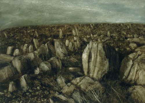 Nicholas Blowers. <em>Boulders retreating down a mountain,</em> 2007. Oil on paper, 92 x 130 cm