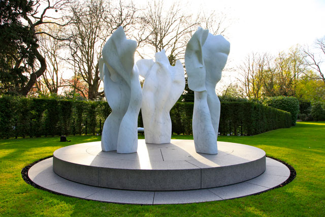 Helaine Blumenfeld. The Space Within, 2010. Marble, three parts, variable heights, maximum 260 cm. Photograph: Philip Moore.