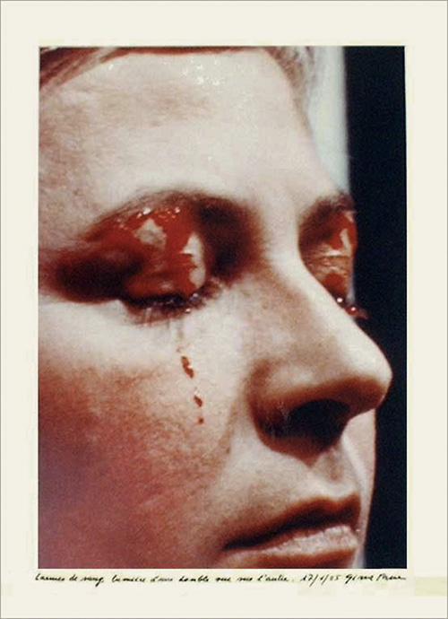 Gina Pane. Psyche, 1974. Colour photograph, 30 x 25 cm. Copyright the estate of the artist. Courtesy Richard Saltoun Gallery.