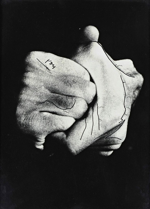 Ketty La Rocca. Hands, 1975. Pen and India ink over photograph, 22 x 15.5 cm. Copyright the estate of the artist. Courtesy Richard Saltoun Gallery.