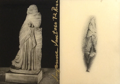 Suzanne Santoro. Roman Statue with Sacra Miniatura, 1972. Two photographs mounted on wood with polyester, 16 x 24 cm. Copyright the artist. Courtesy Richard Saltoun Gallery.