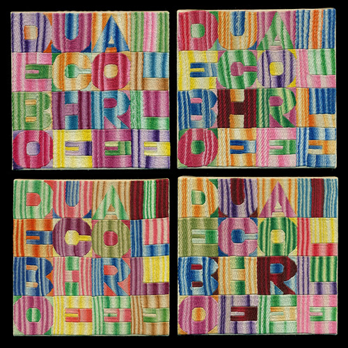 Alighiero Boetti. De Bouche a Oreille, 1993. Embroidery on fabric, each 18 x 18 cm. Courtesy Mazzoleni London.