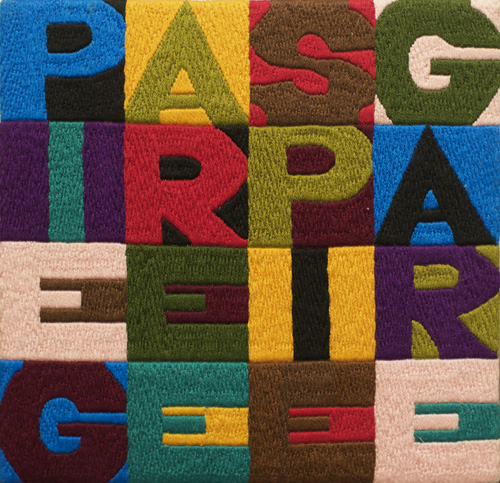 Alighiero Boetti. Piegare e Spiegare, 1990. Embroidery on fabric, 16.5 x 17.5 cm. Courtesy Mazzoleni London.