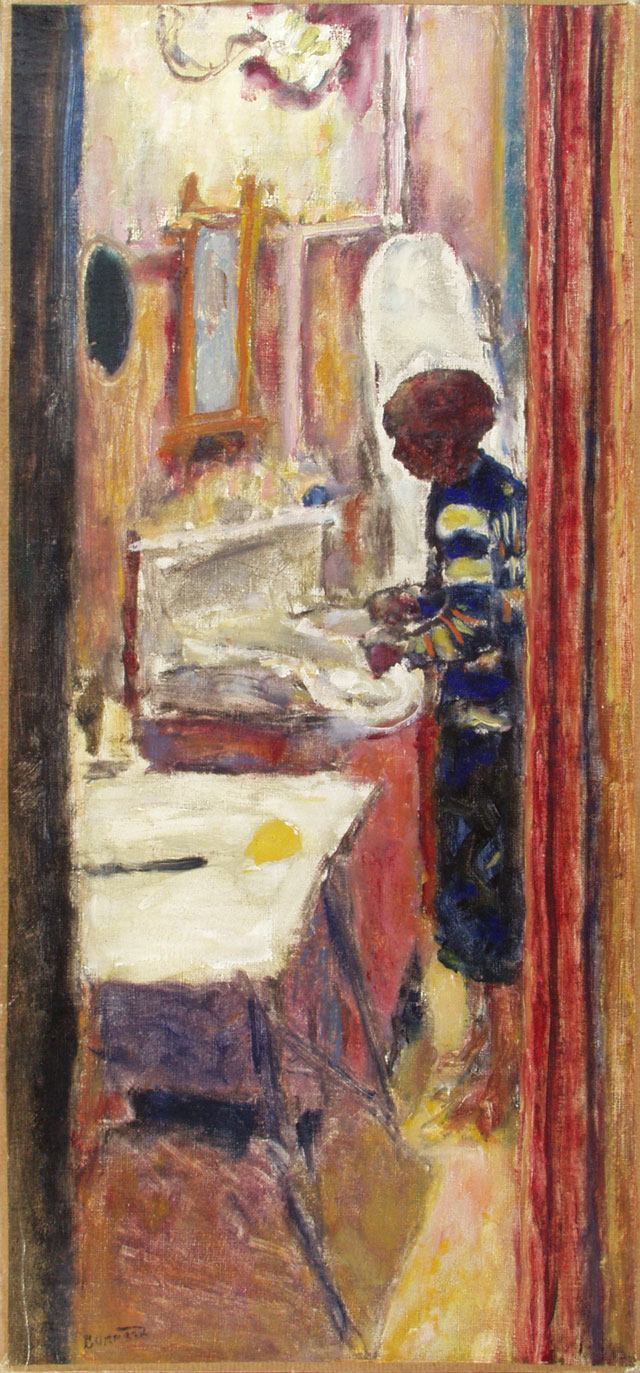 Pierre Bonnard. Femme debout dans un intérieur, dit La Valise, (Women in an interior or The suitcase), no date. Oil on canvas, 61 x 28 cm. Musée Bonnard, Le Cannet. Long term loan from a private collection. © Adagp, Paris 2016. © Yves Inchierman.