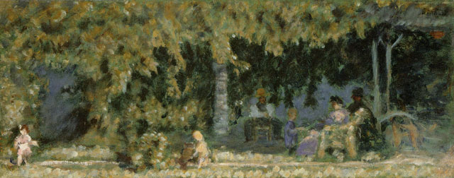 Pierre Bonnard. La Famille à la campagne, personnages et enfants (The family in the countryside, people and children), c1899. Oil on cardboard, 20 x 50 cm. Long term loan from a private collection. © Adagp, Paris 2016. © Claude Almodovar.