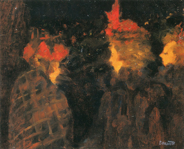 Pierre Bonnard. Les chapeaux rouges (The red hats), 1894. Oil on canvas, 28 x 33 cm. Private collection. © Adagp, Paris 2016. © Claude Almodovar.